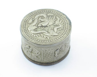 Antique Round Silver and Brass Opium Snuff Box from Vietnam with Dragons, Turtle, and Other Animals
