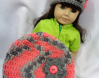 My Doll and I Matching Hats, 18 Inch Doll Hat, Child Size Coral and Gray Caps, American Girl, Gift for Girl, Stocking Stuffer, Flowered Hats