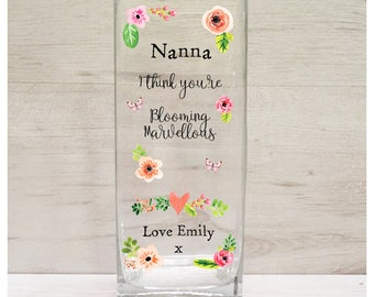 Personalised Printed Mothers Day Vase - I Think You Are Blooming Marvellous