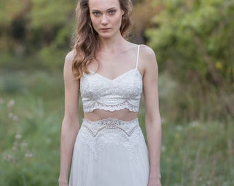 Bridal Clothing, Wedding Top, Crop Top, Lace Top, Bridal Top, Bridal Separates, Spaghetti Strap Top, Two Piece Wedding Dress, Ivory Top