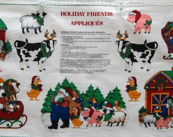 Holiday Friend's Appliques Fabric Panel