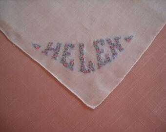 Vintage Handkerchief Personalized Hanky Helen