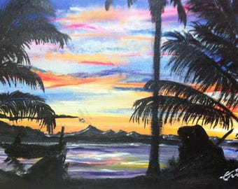 Indonesian landscape acrylic painting on canvas