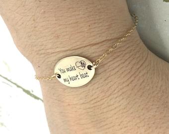 You make my heart beat name bracelet - Back engraving included - Sterling silver and gold-filled bracelet - Personalized Engraved Bracelet