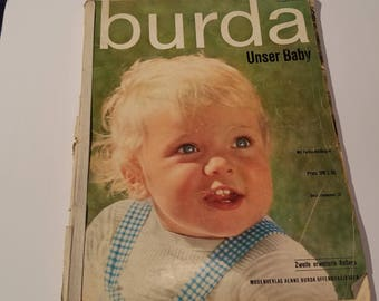Burda Usner Baby knitting and sewing patterns 1960s layette, robe, christening gowns