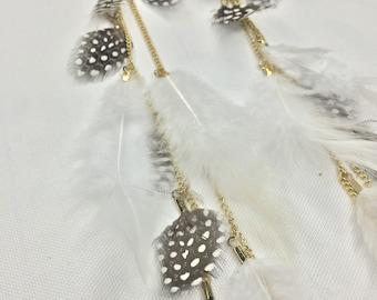 Long real feather earrings, festival earrings, boho earrings, real feather earrings, long drop earrings, white earrings, white feathers