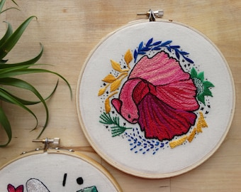 Hand stitched betta fish, hand embroidered betta fish portrait, handmade pet portrait, embroidery hoop wall art