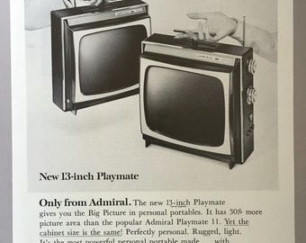 1964 Admiral 13-inch Playmate Portable Television Print Ad - TV