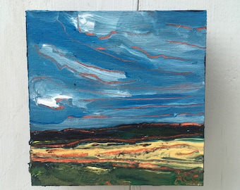 4x4 inch Original Acrylic Alberta Canada Prairie Landscape painting in birch - 'you will get where you are going'