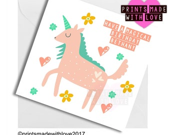 Personalised unicorn birthday card , have a magical birthday , cute card , pastel , daughter , son , friend , personalized
