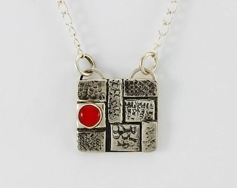 """Handcrafted Sterling Silver """"Cobblestone"""" Pendant Red Coral Cabochon Contemporary One of a Kind Artisan Jewelry Design 3773652032017"""