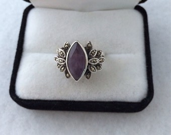 Lovely Marquise Bezel Set Amethyst Semi Precious Faceted Gem Ring Adorne with Marcasite Tiered Leaf Modif Sterling Silver 925