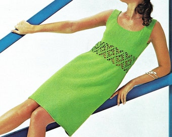 U Neckline Knitted Dress PDF Pattern Bust Size 33 to 36 inches Vintage Knitting 1970s Reproduction Instant Digital PDF ePattern Download