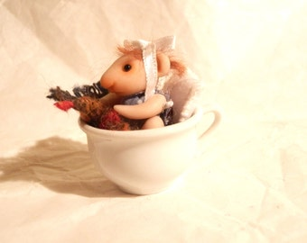 Ooak  Tiny Mouse in Miniature in small porcelain cup entirely sculpt handmade  Fairy Dolls, collectible fairy dolls, polymer clay dolls