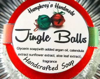 JINGLE BALLS soap, Cinnamon Coconut Scented Glycerin Soap, Unisex Shave Soap, Beard Wash, Christmas Stocking Stuffer Funny Gag Holiday