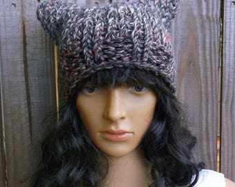 Hand Knitted Cat Hat, Cat Beanie, Cat Ear Hat, Winter Cat Hat, in Grey with a touch of Pink