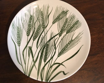 Homer Laughlin - Wheat Americana - Salad Dessert Plates - Green and White China Dish- 12 Available