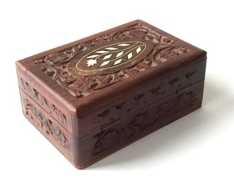 Hand carved sheesham wood box 6x4 detailed carvings mother pearl inlay ink blue liner