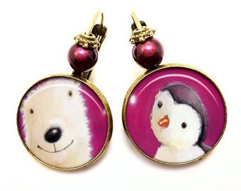 """Earrings """"Sweetness in the North Pole"""". Polar bear; Penguin. glass Cabochon. purple. Child woman gift"""