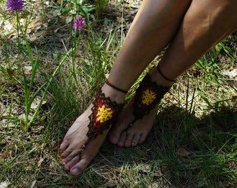 Hand-made crochet foot jewelry