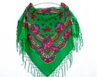 Shawl With Tassels Green Floral Folk Shawl Ukrainian Shawl Green Shawl Floral Shawl Bohemian Scarf Mother Day Gift Russian Shawl (073)