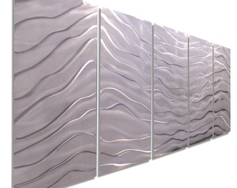 Large Multi Panel Wall Art In Silver & White, Indoor Outdoor Contemporary Wall Decor, Modern Metal Wall Sculpture - Arctic Wave by Jon allen