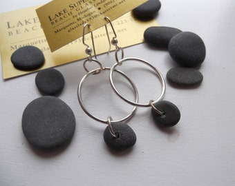 Lake Superior BASALT Zen Stone Earrings Handcrafted Hoop Dangle