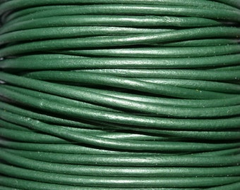 Lawn / Metallic Green / 2mm Leather Cord / leather by the yard / round leather cord / genuine leather / necklace cord / bracelet cord