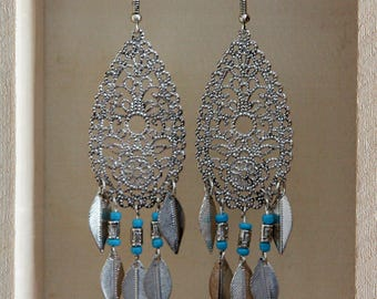 Silver Filigree and Turquoise Earrings, Long Silver and faux turquoise earrings