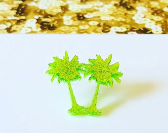 Palm Tree Acrylic Stud Earrings, palm tree, green earrings, beach earrings, tropical earrings, tree earrings, acrylic earrings, cute studs