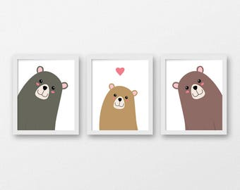 Printable Forest Nursery Art / Set of Three Bear Family Wall Prints 8x10 / Three Bears Nursery Decor / Baby Animal Printable Nursery Art