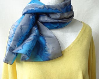 blue and gray silk scarf, hand dyed silk scarf, elegant silk scarf,handmade silk scarf, gift for her