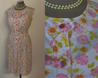 "Pretty early 1960s print wiggle day dress bust 44"" w/belt Volup !"