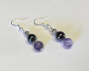 Hematite & Amethyst Gemstone Earrings Sterling Silver Earwires