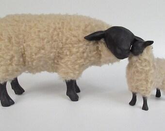 Suffolk Sheep Figurine Cheek to Cheek With Lamb Handmade