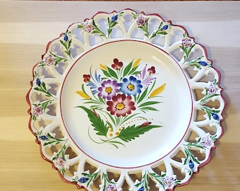 RCCL Hand Painted Portugal Plate Pierced Reticulated Rim Flowers 003