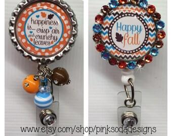 Happy Fall  - Retractable ID Badge Holder