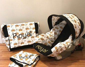 Royal Prince gold Crown fabric with black 3 pc set for baby diaper bag, carseat cover and receiving blanket with minky dots & free monogram