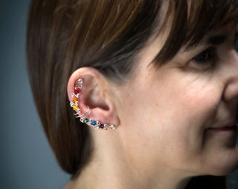 Full Rainbow Ear Cuffs with Gold Filled or Sterling Silver Wire, single or pair, featuring Swarovski Crystals.