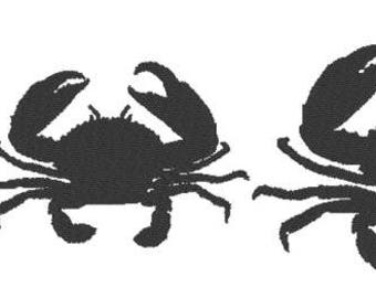 Solid Crab Embroidery Design File - multiple formats - one color design - 3 sizes - instant download