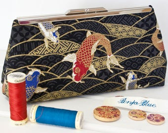 Clutch Bag - Purse - Hand Bag - Evening Bag - Toiletry Bag - Handmade bag featuring gorgeous Japanese koi fabric with metallic accents