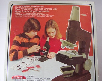 Vintage Skilcraft Microscope in Original Box with Manual.1976.With Battery Powered Stage Illuminator.Vintage Lab.Children's Science Kit.