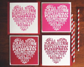 Fitness valentines day greeting card wod with you fitness heart valentines greeting cards pack of 4 m4hsunfo