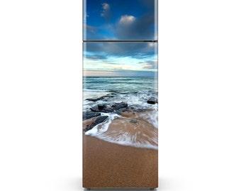 Fridge Skin - Beach Tide Adhesive Wallpaper - Self Adhesive Vinyl - HD Print