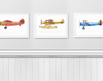 Three 8x10 Aviation or Transportation Watercolor Prints