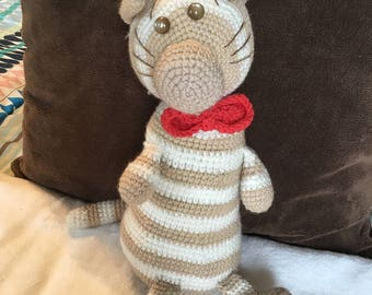 Crochet Striped cat with red bowtie