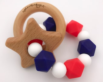 Patriotic USA Silicone Teether with Wooden Ring Rattles | Double Ring | Teething Baby | red white blue | star