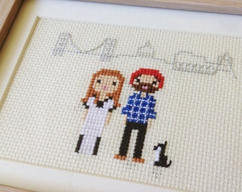Location / New Home Custom Portrait in Pixel Cross Stitch (Framed)