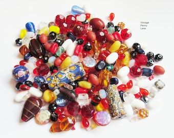 Mixed Lot Loose Salvaged Glass Beads, Vintage Glass Beads, 200 Grams