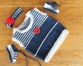 hand knit, sleeveless sweater, booties and turban for doll, doll, baby corole, knitted